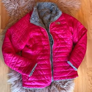 Reversible North Face pink jacket